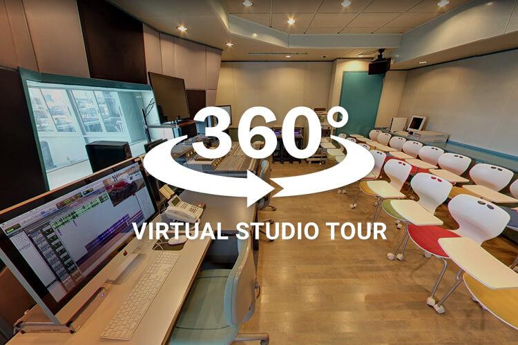 校舎地下のテレビスタジオなどを360度バーチャルで見てみよう!